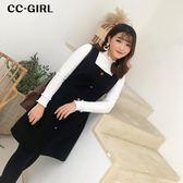 中大尺碼 黑色毛呢背心裙 - 適XL~4L《 67133L 》CC-GIRL