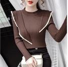 VK精品服飾 韓系百搭顯瘦不規則木耳邊針織衫單品長袖上衣