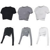 花色運動8301女短長袖秋冬速幹健身衣運動訓練瑜伽服露腰上衣罩衫