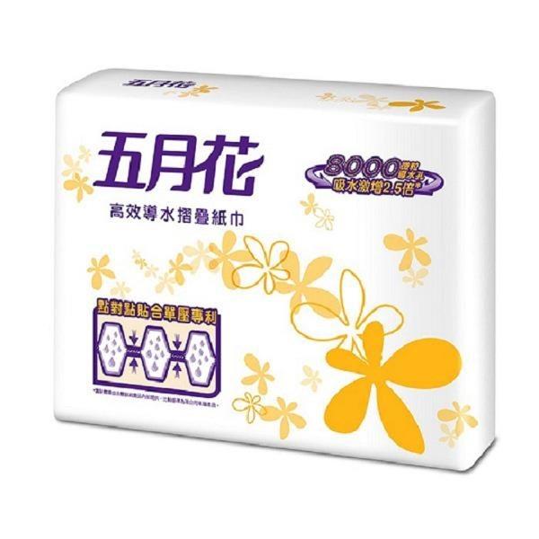 【南紡購物中心】五月花 高效導水雙層摺疊紙巾(擦手紙)200抽x20包
