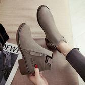 chic馬丁靴女英倫風小跟短靴及裸靴子女新款學生女靴春秋單靴 korea時尚記