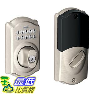 [美國代購] Schlage BE369NX Camelot 619 Home Keypad Deadbolt with Z-Wave Technology, Satin Nickel 鍵盤 門鎖