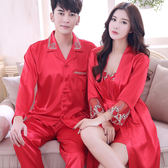 新婚情侶睡衣長袖仿真絲綢男女春季喜慶紅色家居服結婚套裝夏季『櫻花小屋』