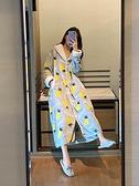 浴袍 睡衣女秋冬季珊瑚絨加厚加長款睡袍浴袍甜美冬天法蘭絨睡裙家居服  美物 99免運