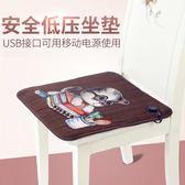 電熱坐墊 電熱低壓發熱坐墊椅墊卡通USB充電熱發熱墊電暖墊暖腳寶 俏腳丫