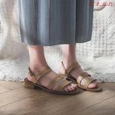 Pr 羅馬鞋子涼鞋女復古學生夏粗跟女鞋