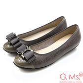 G.Ms. MIT系列-牛皮拼接圓頭蝴蝶結娃娃鞋*灰色