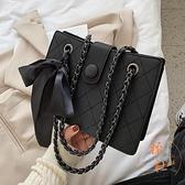 質感小眾設計包包女鏈條百搭單肩斜挎水桶包【橘社小鎮】
