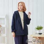 【Tiara Tiara】翻領連帽羊毛混紡大衣外套(藏青)