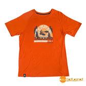 wildland荒野 男 圓領印花棉感抗UV上衣『橘』0A51610 台灣製造 排汗透氣圓領T恤 T-shirt 短袖運動服