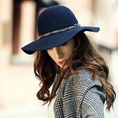 禮帽-時尚優雅大帽簷蛇紋皮帶毛呢女帽子2色72b40[巴黎精品]