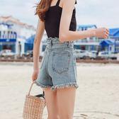 牛仔短褲 夏季新款高腰韓版學生寬松闊腿百搭a字復古短褲
