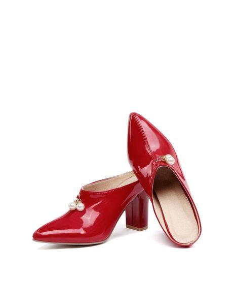 丁果、大尺碼女鞋34-46►2019春閃亮漆皮造型珍珠穆勒鞋頭高跟鞋*5色