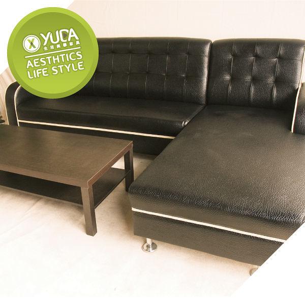 沙發【YUDA】 限時特賣 現代801高級 L型 皮沙發 獨立筒坐墊/椅腳皆為實木 出清 新竹以北免運