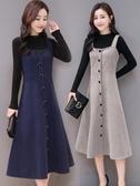 吊帶毛呢子背心背帶中長款連身裙打底針織衫兩件套裝女 『優尚良品』