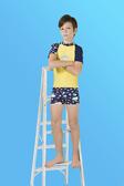 【M9222】梅林泳裝2020新品特價~男童黃底搭海底生物短袖二件式泳衣 贈泳帽