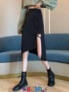 及膝裙 牛仔半身裙2021夏季新款小眾不規則設計感高腰裙子女開叉黑色收腰a字半身裙【寶貝 新品】
