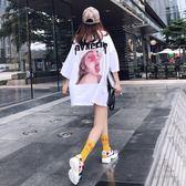 t恤女短袖夏季新款韓版寬鬆中長款bf風印花下衣失蹤白色體恤  Cocoa
