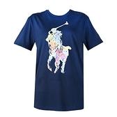 【南紡購物中心】Ralph Lauren 大馬水彩渲染轉印圓領短袖T恤-深藍