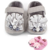 學步鞋 魔鬼氈 娃娃鞋 防滑鞋底 立體花朵 便鞋 二色 寶貝童衣