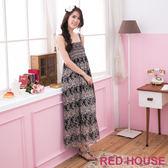 【RED HOUSE-蕾赫斯】滿版花朵雪紡長洋裝-網路獨家款(黑色)
