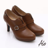 A.S.O 輕透美型 真皮簡約條帶飾釦高跟鞋 茶色