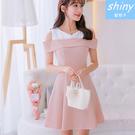 【V8162】shiny藍格子-甜美清新.時尚顯瘦拼接露肩連身裙