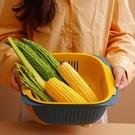 瀝水盆 雙層家用塑料瀝水籃洗菜籃洗水果瀝水籃廚房淘菜洗菜盆密孔多用籃 晶彩 99免運