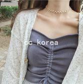 抽繩皺褶吊帶針織背心 CC KOREA ~ Q17235