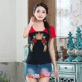 民族風上衣-棉麻刺繡拼色短袖女T恤4色73mn17【時尚巴黎】