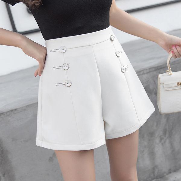 【GZ53】西裝褲 黑色短褲 修身顯瘦韓版雙排扣高腰短褲 女褲 休閑A字褲