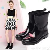 雨靴雨鞋女韓國可愛時尚中筒夏季防滑水鞋套鞋膠鞋戶外水靴成人雨靴 潮人女鞋