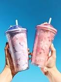 折疊杯 紫粉色櫻花折疊吸管塑料水杯子可愛少女生便攜密封大容量雙 晶彩