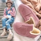 棉鞋女冬季學生面包鞋女加絨短靴韓版百搭雪地靴女短筒平底裸靴子