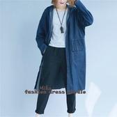 依多多 韓版休閒寬鬆連帽寬鬆中長款大碼收腰牛仔外套