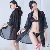 送現金券贈跳蛋Gaoria黑色三件套裝奶罩胸罩外罩衫性感情趣睡衣角色扮演內衣褲丁字褲情人節禮物