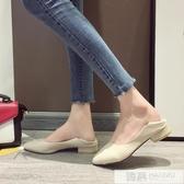單鞋女2020春季新款百搭春秋軟皮尖頭溫柔百搭中跟粗跟奶奶豆豆鞋  韓慕精品