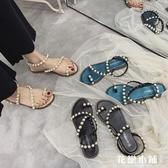 平底鞋 涼鞋珍珠涼鞋女2019夏季新款學生平底套趾仙女風蛇形纏繞軟妹沙灘涼鞋花戀小鋪