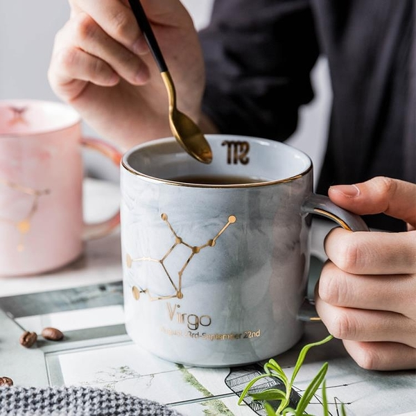 快速出貨 摩登主婦 大理石紋陶瓷馬克杯男女情侶星座杯子辦公室咖啡杯水杯