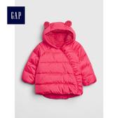 Gap女嬰兒 童趣熊耳絎縫保暖外套 473955-淺色粉