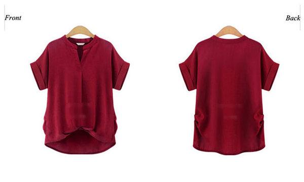 短袖襯衫 素色修身下擺設計小V開口短袖上衣 艾爾莎【TGK3486】