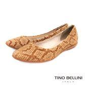 Tino Bellini 巴西進口特殊蛇紋真皮舒適平底娃娃鞋_棕 IN1038C 2017SS歐洲進口款