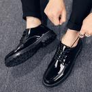 夏季皮鞋男韓版潮流英倫透氣休閒鞋學生青少年正裝百搭黑色小皮鞋 台北日光