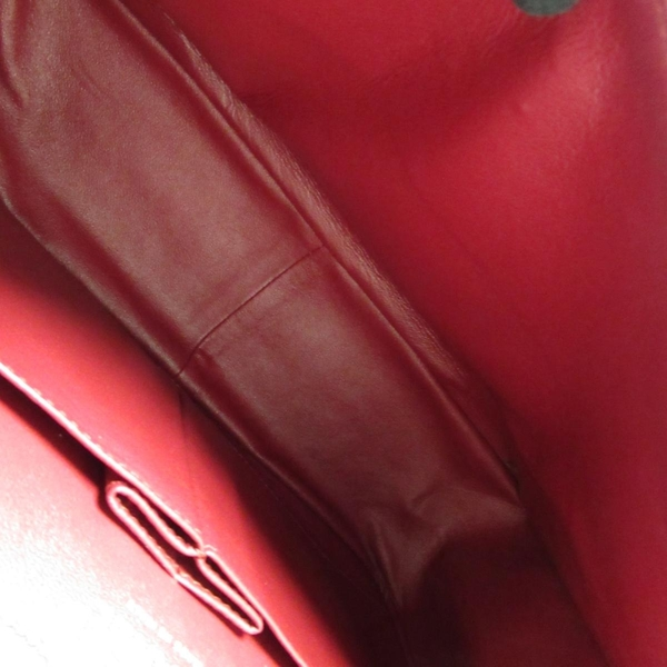CHANEL 香奈兒 紅色漆皮經典2.55銀鍊肩背包 Double Flap Jumbo 【二手名牌BRAND OFF】