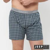 【JEEP】五片式剪裁 純棉平口褲(藍綠小格紋)