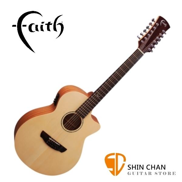 Faith 英國名牌 FKV12 41吋 可插電 全單板 12弦民謠吉他 附贈吉他硬盒 CASE 印尼製