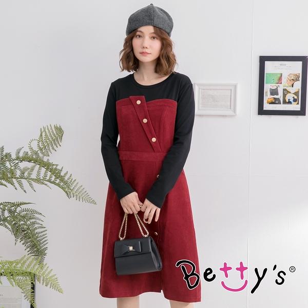 betty's貝蒂思 飾釦拼色長洋裝(暗紅)