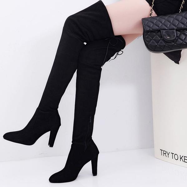 膝上靴 尖頭高跟過膝長靴 粗跟長筒靴 顯瘦女士彈力高筒靴 騎士靴 降價兩天