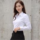 白襯衫女秋2019新款上衣白色長袖襯衣V...