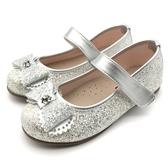《7+1童鞋》日本娃娃 DOLLS 亮粉 圓鑽花邊蝴蝶結 休閒鞋 娃娃鞋 公主鞋 D651 銀灰色
